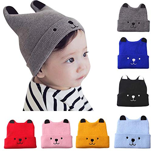 (Moonper Clearance ! Children Knit Hat,Baby Infant Kid Soft Winter Warm Cartoon Bear Crochet Beanie Cap,1-3 Years (Black))