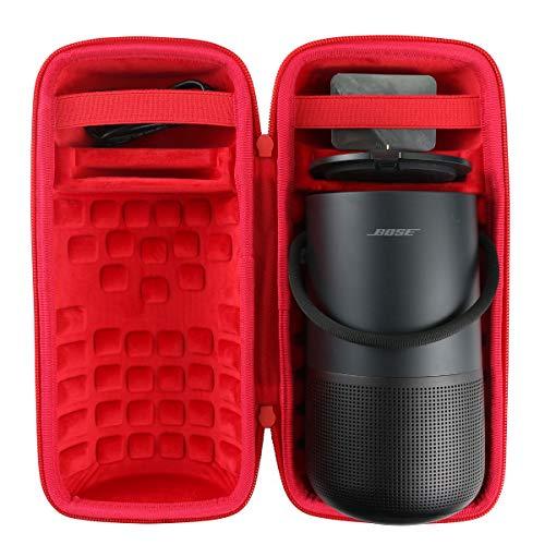 co2crea Hard Travel Case for Bose Portable Home Speaker Charging Cradle (Triple Black Case + Inside Red)
