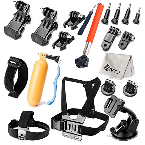 SNT Camera Accessory Kit for GoPro Hero 4/ 3+/ 3/ 2/ 1/ SJ4000/ SJ5000/ SJ6000, Indludes: Selfie Stick, Chest Mount Harness, Floating Handle Grip, Wrist Strap Band,etc