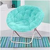 Luxury Padded Faux-Fur Saucer Chair, (Aqua)