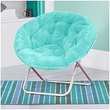Luxury Padded Faux Fur Saucer Chair, (Aqua)
