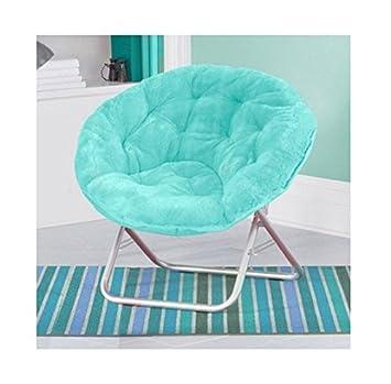 Luxury Padded Faux-Fur Saucer Chair, Aqua