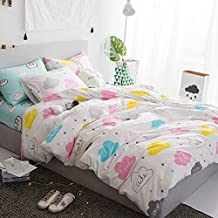 LELVA Colorful Cloud Pirnt Pattern Duvet Cover Set Baby Bedding Kids Bedding for Girls and Boys 4 Piece Cotton (Queen, Fitted Sheet Set)