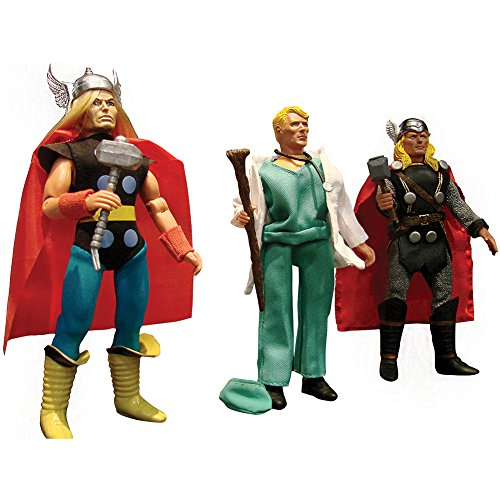 Marvel Thunder God Thor Action Figure Set - Retro Style, Alter Ego & Modern