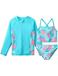 TFJH E Girls Swimsuits Long Sleeve Tankini Rashguard Sets Beachwear UV 50+ Cyan Flower 6A