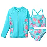 TFJH E Girls 3pcs Swimsuits Long Sleeve Tankini Rash Guard Sets Sunsuits Beachwear UV 50+ Aqua, Cyan Flower 12A