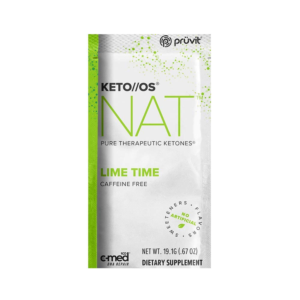 Pruvit Keto//OS NAT Caffeine Free, BHB Salts Ketogenic Supplement - Beta Hydroxybutyrates Exogenous Ketones for Fat Loss, Workout Energy Boost Through Fast Ketosis. 20 Sachets (Lime Time)