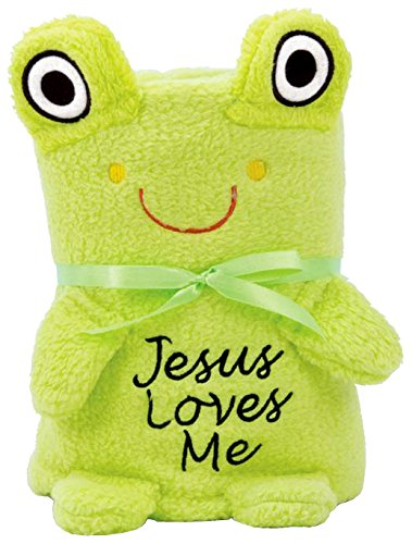 - Brownlow Gifts Baby Blankie with Jesus Loves Me, Frog