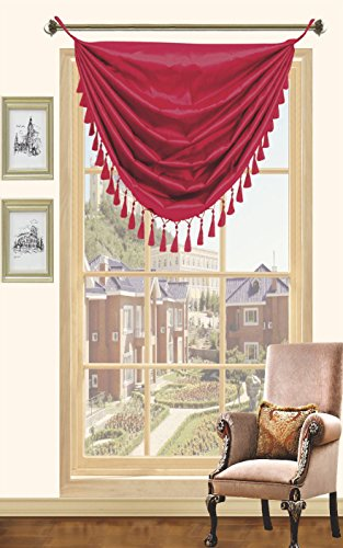 Cinnamon Silk (Cinnamon Faux Silk Window Grommet Valance Wiith Fringe Valances - 36