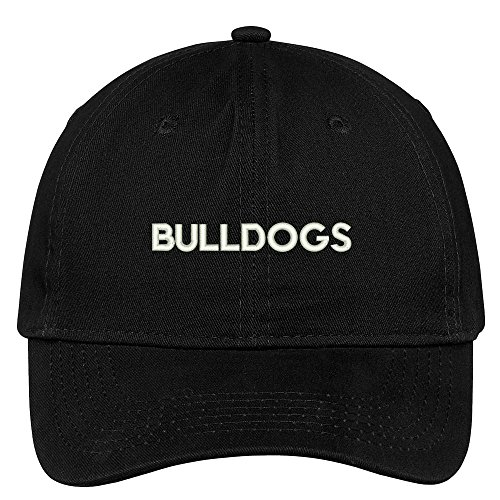 Black Dog Breed Baseball Cap (Trendy Apparel Shop Bulldogs Dog Breed Embroidered Dad Hat Adjustable Cotton Baseball Cap - Black)