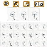 Jwxstore Wall Hooks 24 Pack 22lb(Max) Transparent