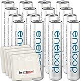 Kraftmax 16er-Pack Panasonic Eneloop AAA / Micro Akkus - Neueste Generation - Hochleistungs Akku Batterien in Kraftmax Akkuboxen V5, 16er Pack