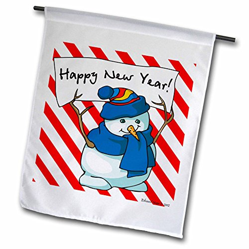 3dRose fl_61185_1 Happy New Year Snowman with Candy Cane Background Garden Flag, 12 by 18-Inch - Candy Cane Backgrounds