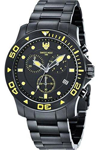 Swiss Eagle SEA BRIDGE Chronograph Men Ionic Plating - Black Solid Bracelet Watch - SE-9001-66