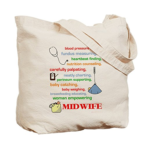 CafePress - Midwife/Job Description - Natural Canvas Tote Bag, Cloth Shopping Bag by CafePress (Image #1)