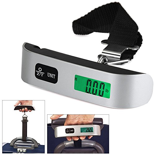Price comparison product image Digital Luggage Scale,Portable Postal Scale Travel Scale, Hanging Scale with Backlight LCD Display Temperature Sensor, 110lb/50kg (1 pack)