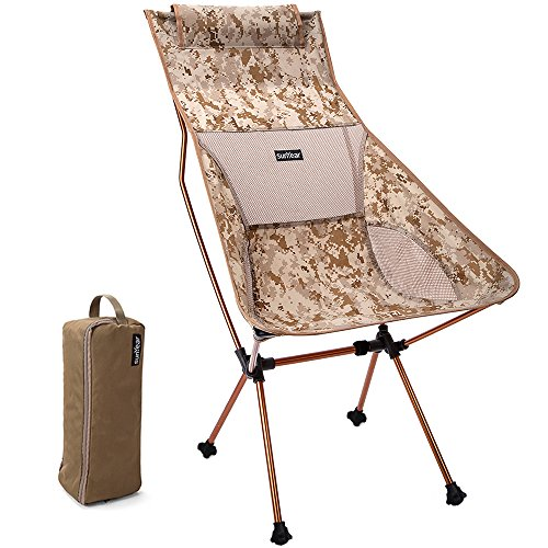 Sunyear Foldable Camping Bakpacking Chairs –Lightweight & Heavy Duty-Breathable Mesh Back-Unique Pillow Design-7075 Aircraft Aluminum Frame–Ideal For Backpacking, Hiking, Fishing & Picnics