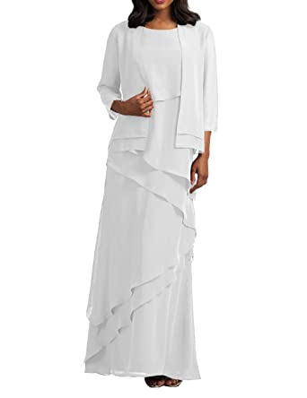 Mother of The Bride Dresses with Jacket Chiffon Prom Dress Plus Size Formal  Evening Gowns Tiered White US 18W