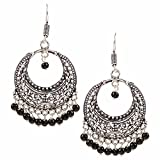 Efulgenz Indian Vintage Retro Ethnic Dangle Gypsy Oxidized Silver Tone Boho Hook Earrings for Girls and Women Love Gift
