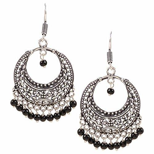 Efulgenz Indian Vintage Retro Ethnic Dangle Gypsy Oxidized Silver Tone Boho Hook Earrings for Girls and Women Love Gift by Efulgenz