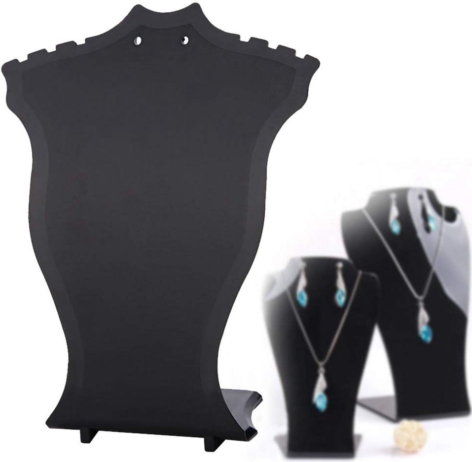 Collier pr/ésentoir collier pendentif en plastique bijoux buste boutique pr/ésentoirs cintres boucles doreilles titulaire support noir