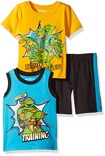 Nickelodeon Toddler Boys' 3 Piece Teenage Mutant Ninja Turtles Tee, Tank and Short Set, Yellow, 3t