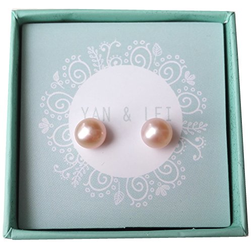 YAN & LEI Sterling Silver Freshwater Cultured Pearl Stud Earrings ONE pair Color Champagne