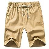 Manwan walk Men's Linen Casual Short 311 (Large, Khaki)