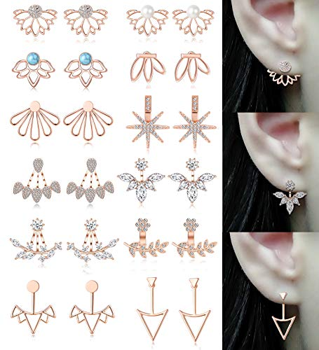 Tornito 12 Pairs Lotus Flower Earring Studs Chic CZ Earrings Jackets For Women Girls Rose Gold Tone -