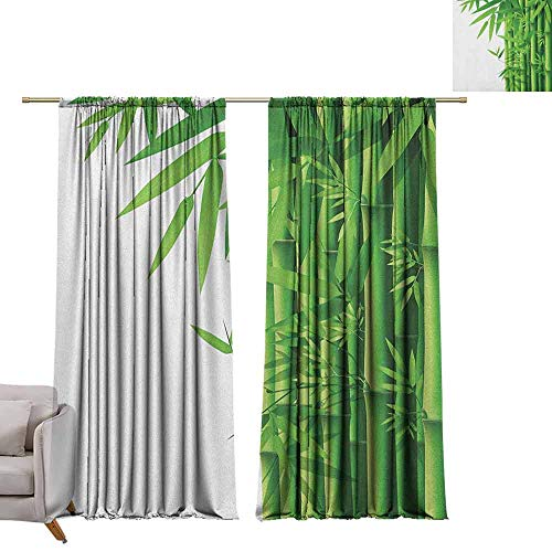 (berrly Grommet Window Treatment Set Bamboo,Modern Image of Fresh Bamboo Stems Leaves with Colors Exotic Nature Themed Print, Green White W108 x L84 Curtains)