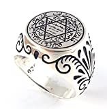 Seal of Solomon Talisman Special Design Islamic 925 Sterling Silver Turkish Handmade Solid Ring (12.5)