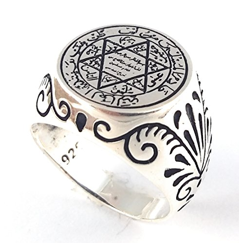 Seal of Solomon Talisman Special Design Islamic 925 Sterling Silver Turkish Handmade Solid Ring (12) -