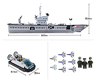 Enlighten Building Block Military Large Navy Boat Aircraft Carrier Battle Ship 1000pcs (Without Original Packing Box)