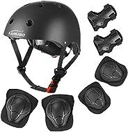 KAMUGO Kids Adjustable Helmet Suitable for Ages 2-8 Years Toddler Boys Girls, Sports Protective Gear Set Knee