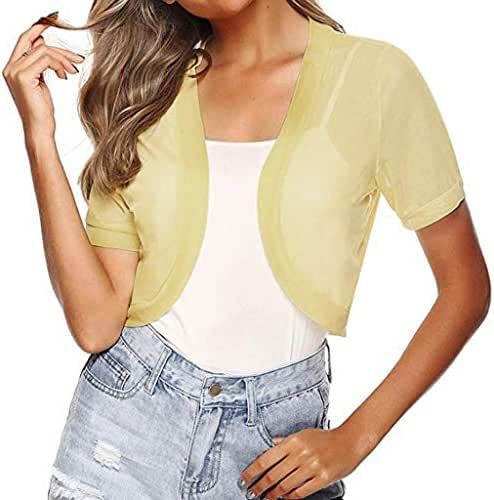 LEKODE Women T-Shirts Fashion Chiffon Solid Cardigan