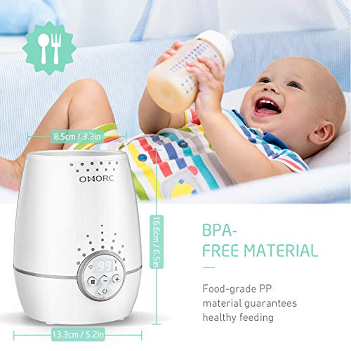 OMORC Baby Bottle Warmer, [Upgraded] Baby Food Warmer with Fast Heating and Constant Temperature Mode, Breast Milk Warmer with LED Display, Overheating Auto-Off and Temperature Control