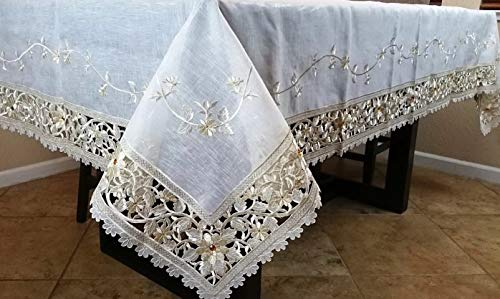 (Mikash 54x72 Embroidered Embroidery Jeweled Organza Tablecloth Napkins Beige | Model TBLCLTH - 812)
