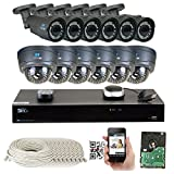 16 Channel H.265 4K NVR 4MP 1520p POE IP Camera System, (6) Bullet & (6) Dome Varifocal Zoom HD Security Camera - H.265 (Double recording data and enhance picture quality compared to H.264)