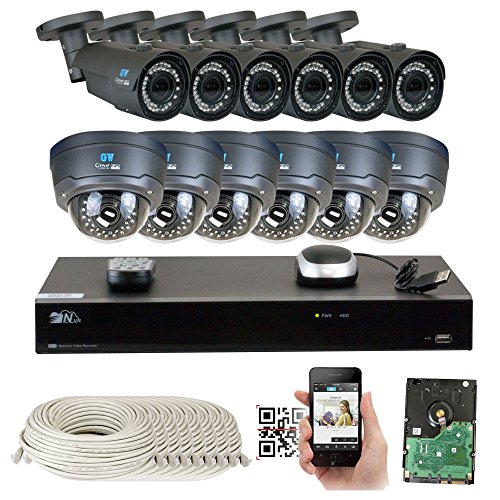 16 Channel H.265 4K NVR 4MP 1520p POE IP Camera System, (6) Bullet & (6) Dome Varifocal Zoom HD Security Camera - H.265 (Double recording data and enhance picture quality compared to H.264) by GW Security Inc