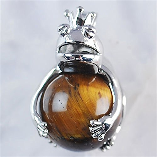 - A2787 25x18x16 K-Gold plated Copper Frog Yellow Tiger Eye Gem Ball Pendant Bead