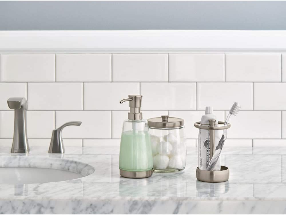 Satin Nickel Toothbrush Holder and Apothecary Jar Delta Faucet Bath Coordinate Set Includes Soap Dispenser