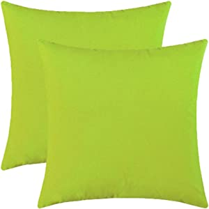 Jeneoo Comfy Soft Velvet Throw Pillow Cases for Sofa Couch, Decorative Solid Square Cushion Covers for Bedroom Car (Lime Green, 16 x 16 Inches, 2 Pieces)