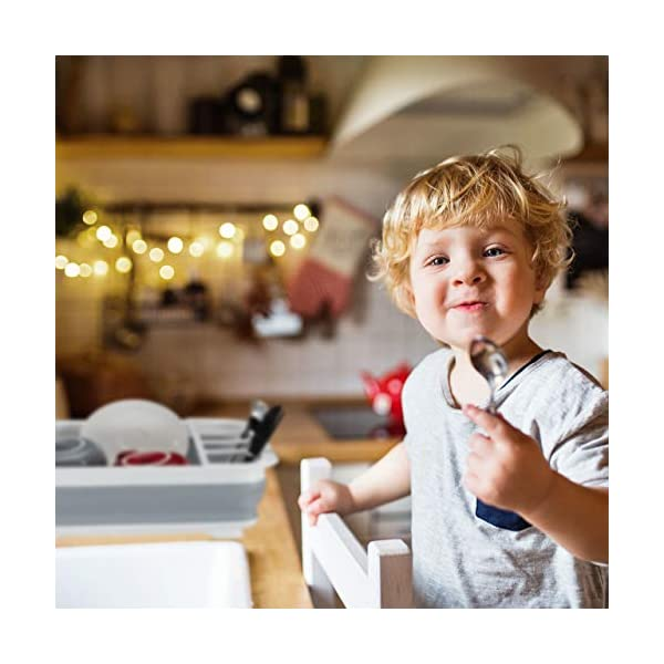 51vboL8LXVL Relaxdays Falt Abtropfgestell, Geschirr & Besteck, Abtropfkorb Küche & Camping, faltbar, Silikon, Kunststoff, weiß-grau…