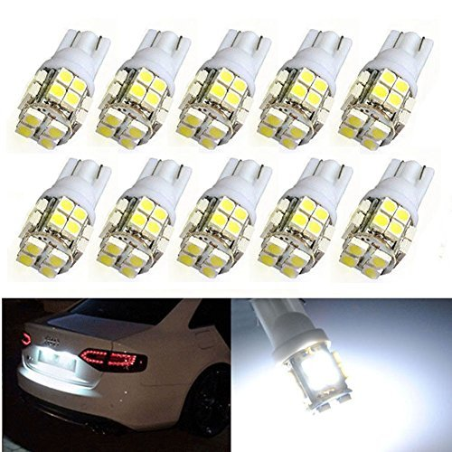 XT AUTO 10pcs Super White T10 Wedge 20-SMD LED Light bulbs W5W 2825 158 192 168 194 for Car Boot Trunk Map Light Number Plate License Light