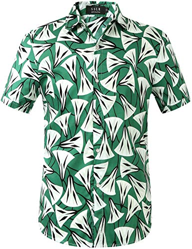 - SSLR Men's Cotton Button Down Short Sleeve Hawaiian Shirt (Small, Green)