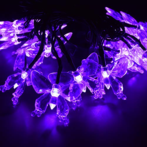 (M.best Waterproof 4.8M/16FT 20LEDs Solar Lamps Butterfly Garland Fairy Christmas Outdoor Garden Party Solar led Decoration Light (Purple))