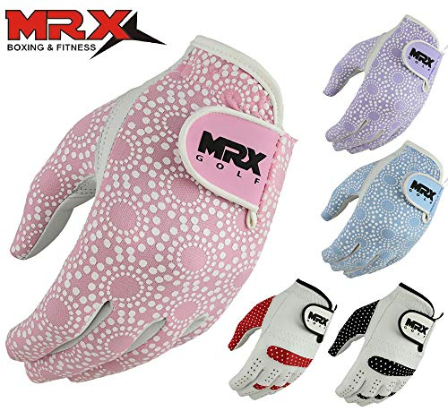 MRX BOXING & FITNESS Womens Golf Glove Soft Cabretta Leather Regular Fit Women Golfer Gloves Left Hand (Pink-Small)
