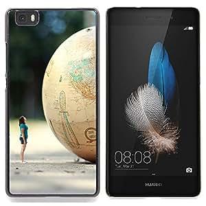 GIFT CHOICE / Teléfono Estuche protector Duro Cáscara Funda Cubierta Caso / Hard Case for Huawei Ascend P8 Lite (Not for Normal P8) // Globe Woman Art Minion Dwarf Planet //