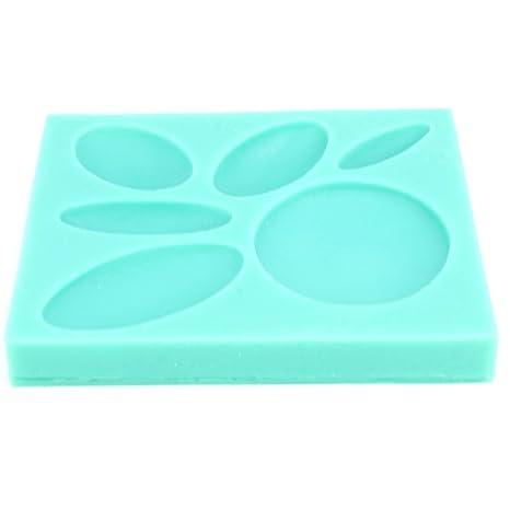 Mini Molde de silicona para arcilla polimérica/arcilla cabuchón Ovalado/Redondo