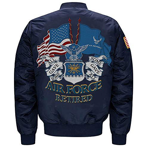 U.S. Air Force Retired MA-1 Flight Embroidered Bomber Jacket (Blue, XXL) ()